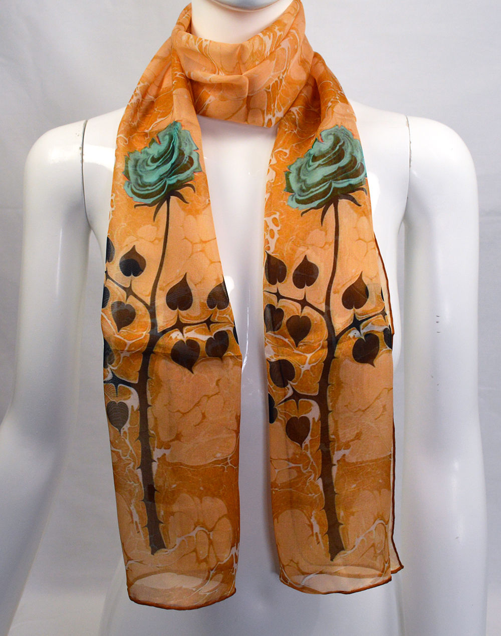 100 Pure Silk Orange And Floral Pattern Marbled Scarf